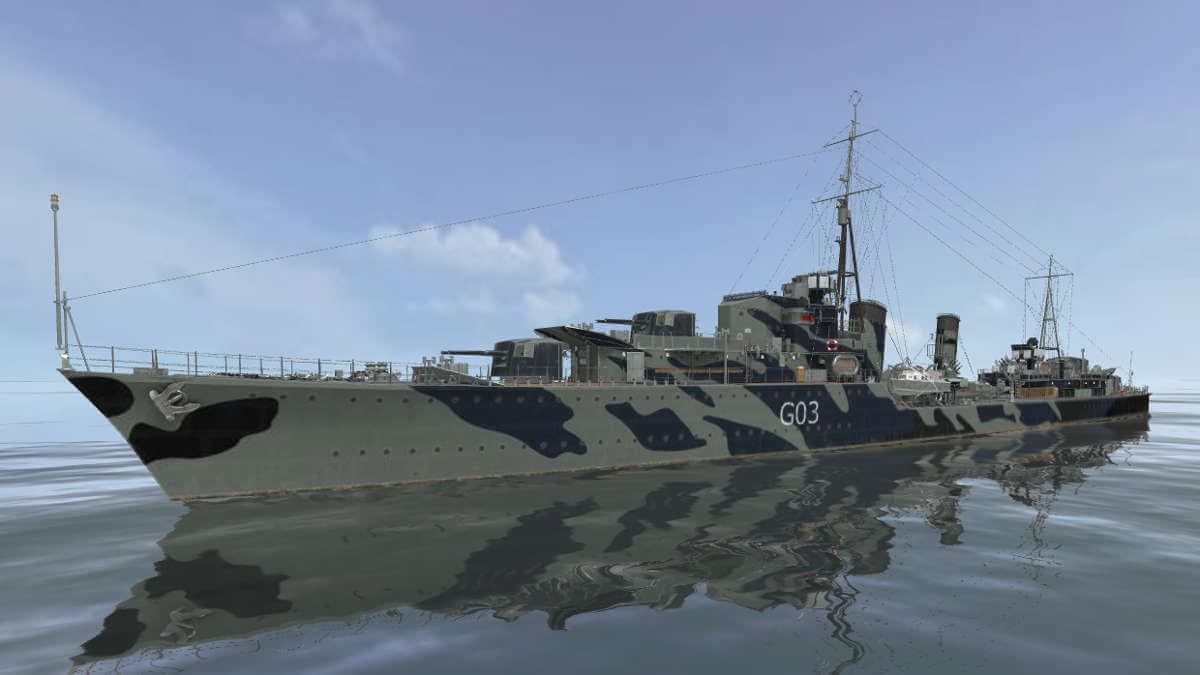 Британcкий эсминец Cossack